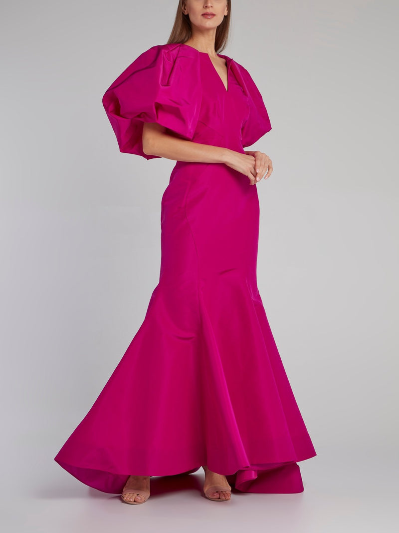Fuchsia Structured Silk Faille Dress
