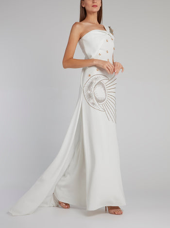 White One-Shoulder Multi-Stud Gown