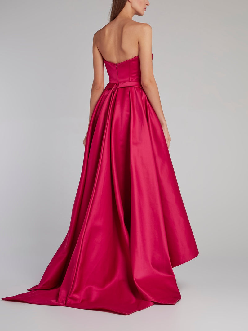 Fuchsia Sweetheart Neckline High-Low Dress