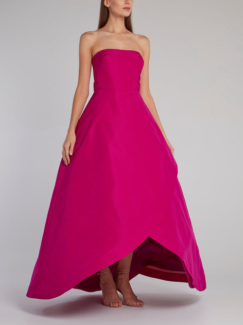 Pink Strapless Wrap Ball Gown