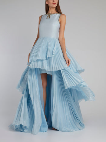 Blue Asymmetric Pleated Maxi Dress