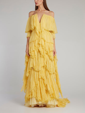 Yellow Tiered Pleated Evening Dress