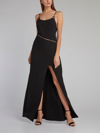 Black Pearl Embellished Slit Dress