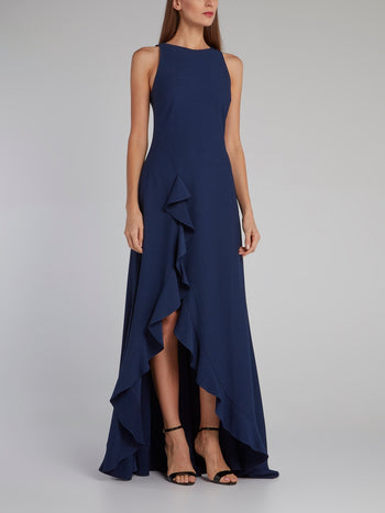 Navy Ruffle Hem Slit Evening Dress