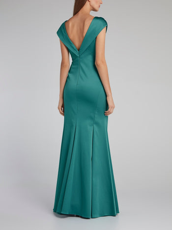 Green Open Back A-Line Gown
