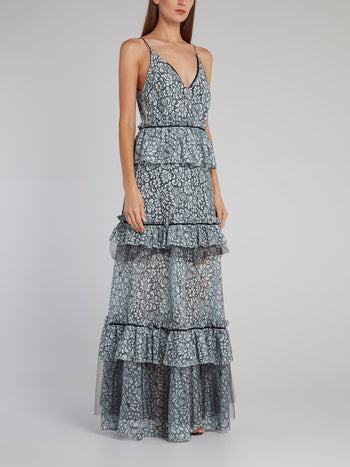 Tiered Frill Lace Maxi Dress