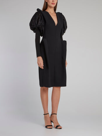Black Puff Sleeve Whispered Dress
