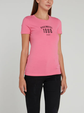 Pink Fitted Crewneck T-Shirt