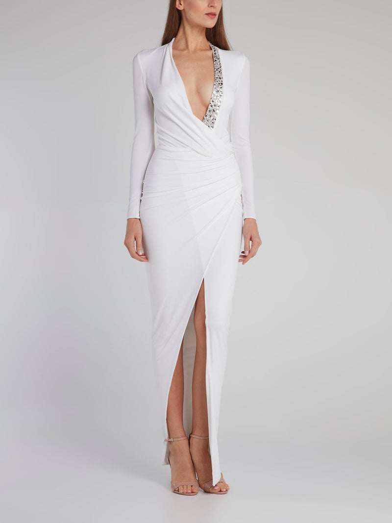 White Crystal Embellished Wrap Gown