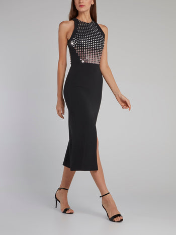 Black Crystal Embellished Midi Dress