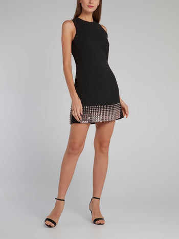 Black Crystal Hem Mini Dress