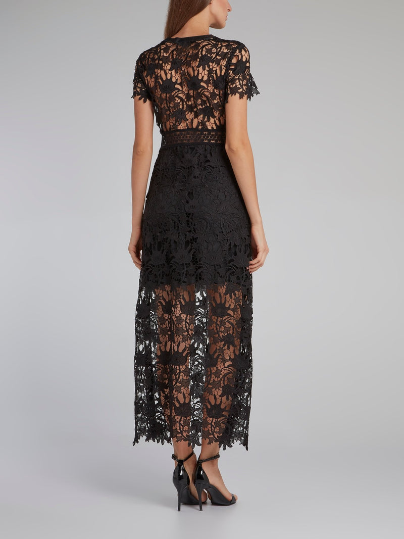 Fonollosa Black Macrame Dress