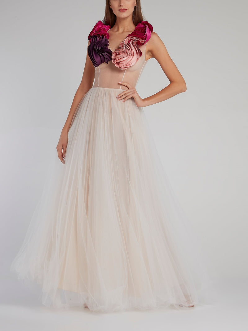 Signature Floral Detail Tulle Gown