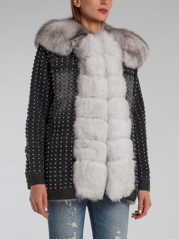 Black Fox Fur Studded Jacket