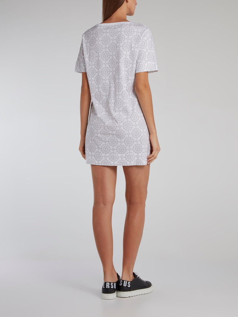 Grey Mosaic Print T-Shirt Dress