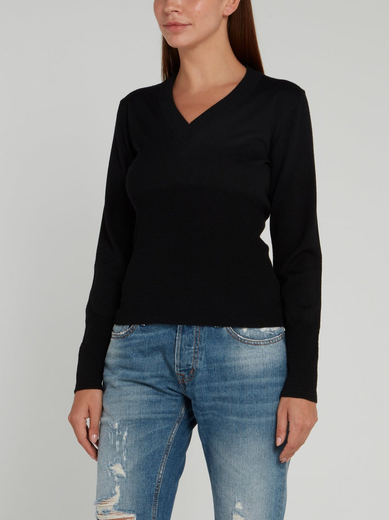 Black Rear Logo V-Neck Sweater