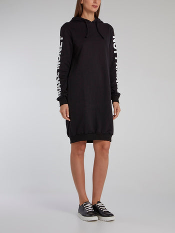 Black Statement Hoodie Dress