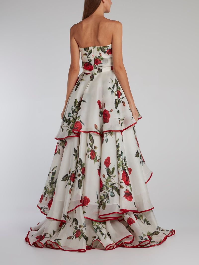 Rose Print High-Low Ruffle Gown