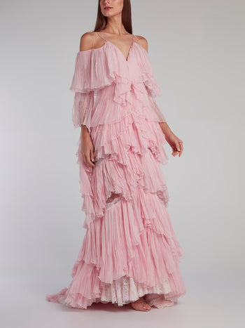 Pink Tiered Pleated Evening Dress