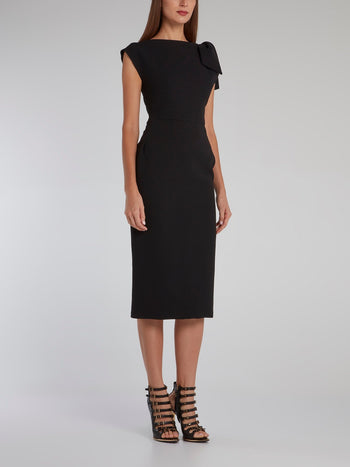 Black Riveting Crepe Dress