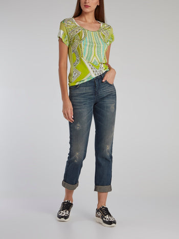 Green Printed Scoop Neck T-Shirt