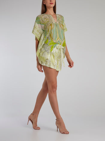 Green Button Up Short Kaftan