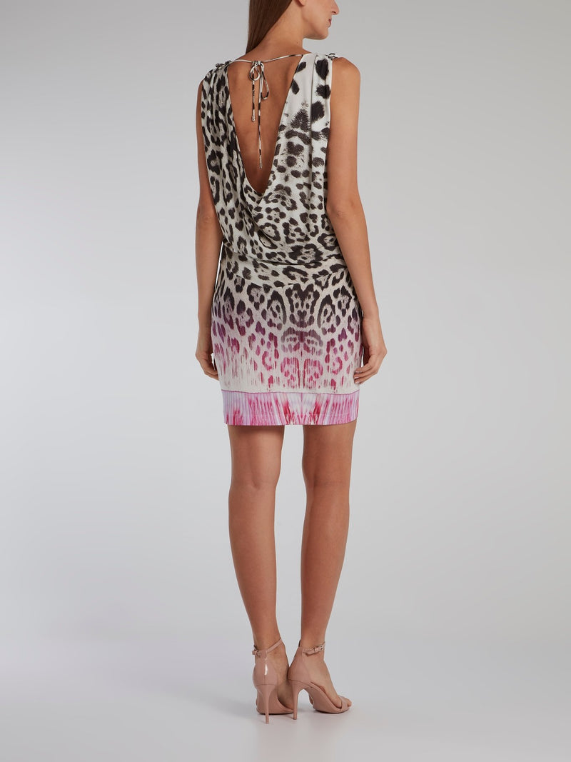 Leopard Print Draped Dress