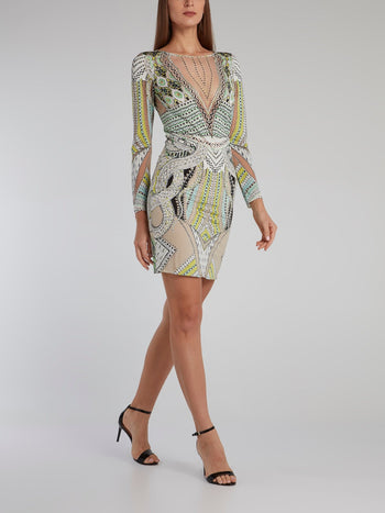 Jacquard Print Long Sleeve Dress