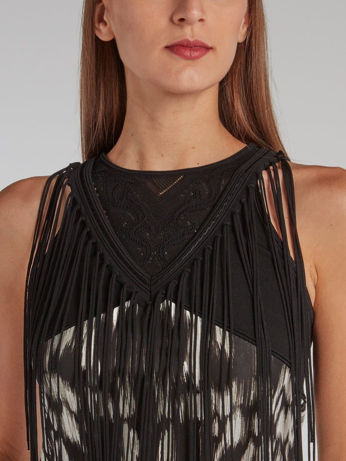 Black Fringe Detail Pencil Dress