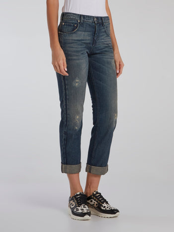 Blue Contrast Stitch Distressed Jeans
