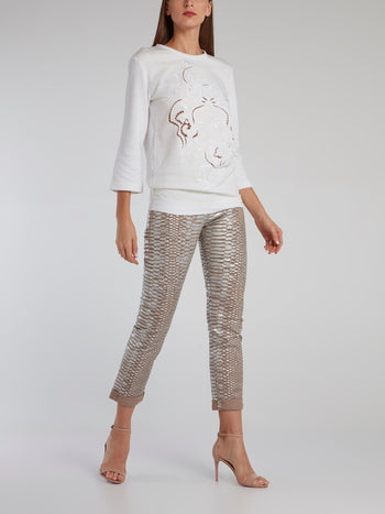 White Embroidered Cut Out Sweatshirt