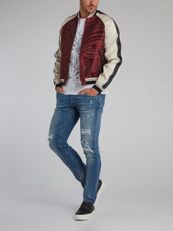 Stripe Trim Raglan Bomber Jacket
