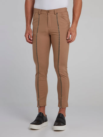 Brown Zip Up Detail Trousers