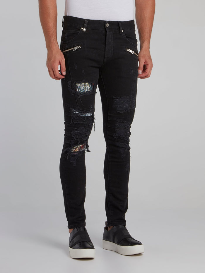 Black Zipper Embellished Tattered Skinny Jeans