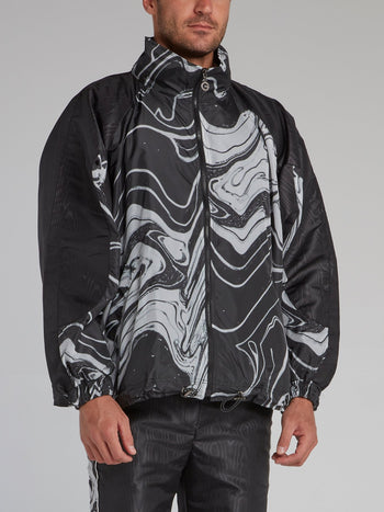 Black Marble Print Windbreaker