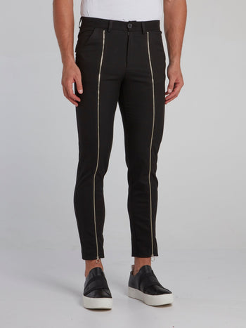Black Zip Up Detail Trousers