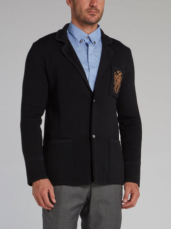 Black Monogram Knitted Blazer