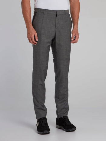 Grey Woven Suit Trousers