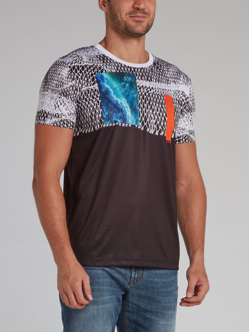 Abstract Print Crewneck T-Shirt