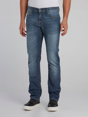 Blue Straight Cut Denim Jeans