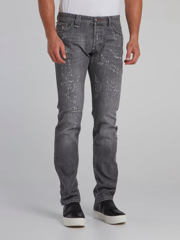 Grey Wash Distressed Jeans