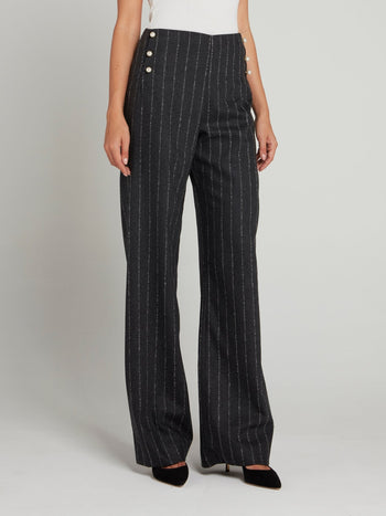 Grey Pinstripe Wide Leg Pants