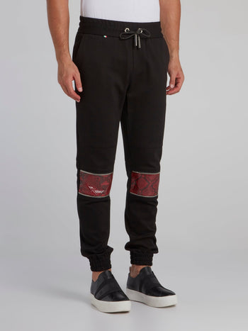 Black Python Panel Jogging Trousers