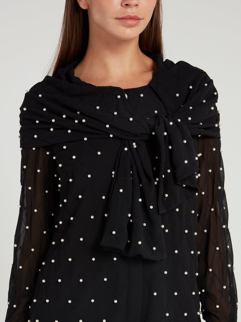 Pearl Embellished Black Ribbon Blouse