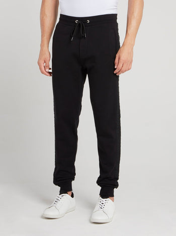 Black Logo Tape Fleece Pants