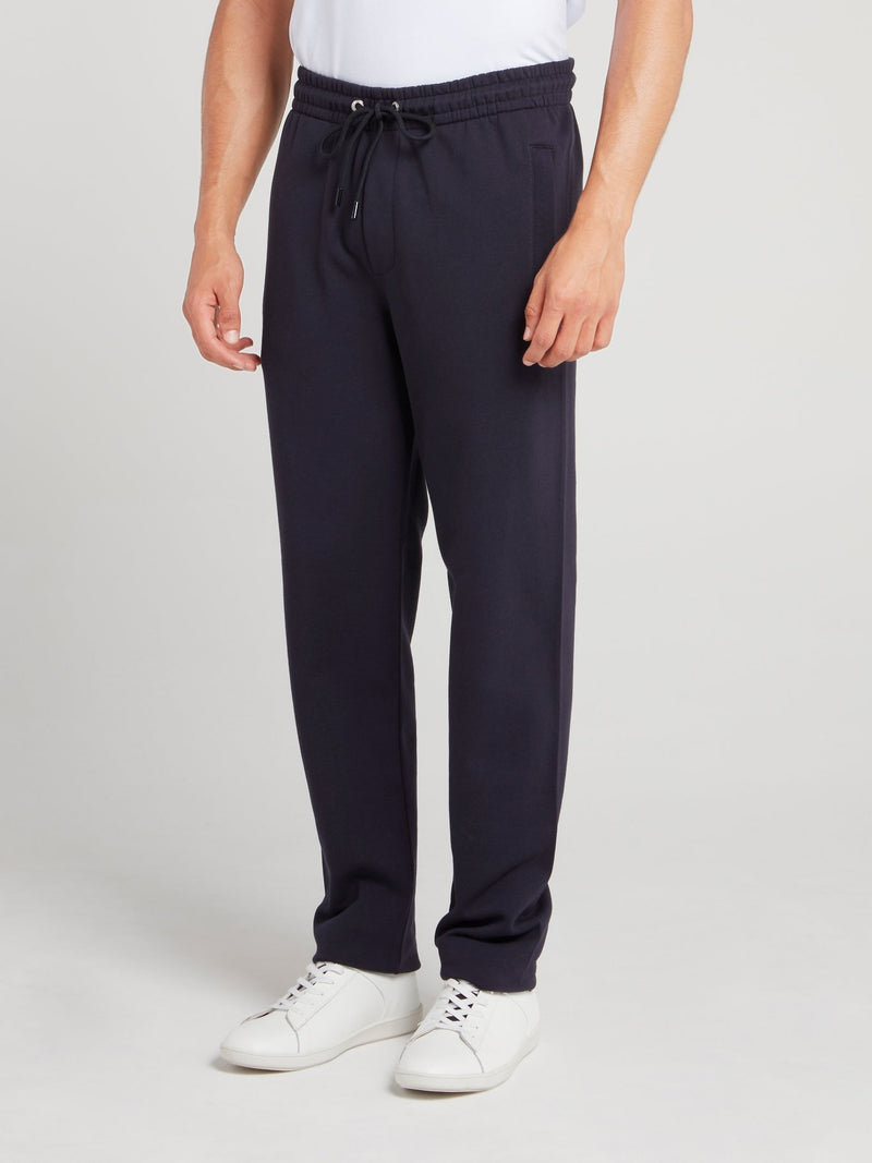 Navy Rear Logo Fleece Pants