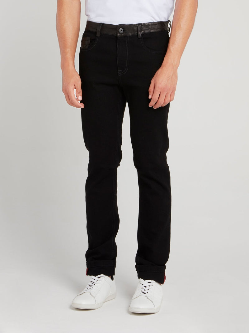Black Leather Panel Jeans