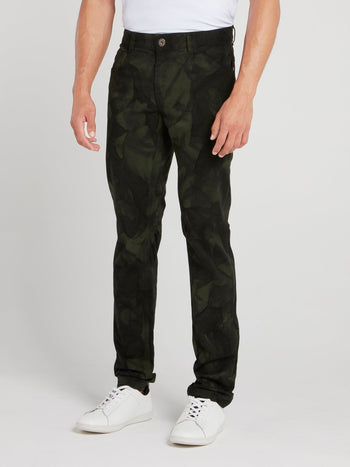 Green Crumple Print Pants