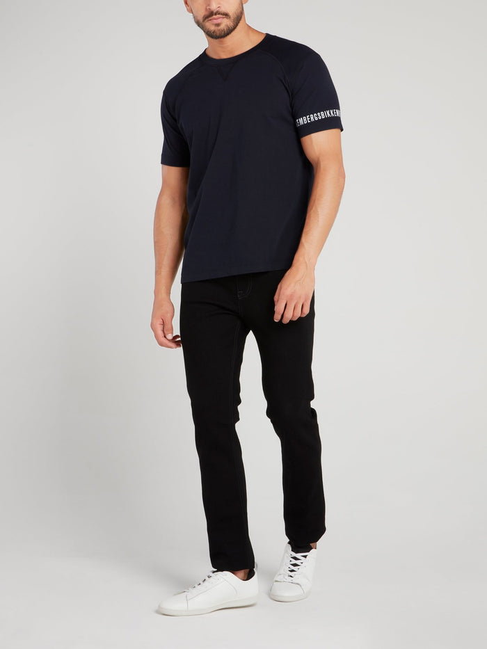Navy Logo Sleeve T-Shirt