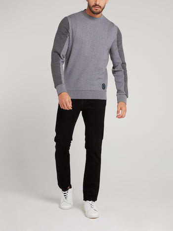 Grey Sport Icon Appliquéd Sweatshirt